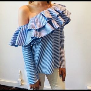 Pinstriped Off Shoulder Ruffle Blouse NWT